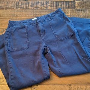 Lila Ryan Blue Cropped Linen Pants size 8